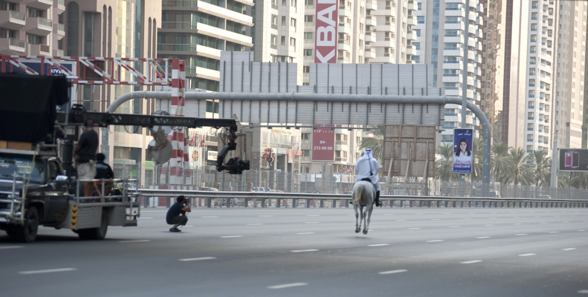 Russian Arm in Action in the streets of Dubai during a shoot-Crew-Equipment